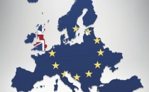 European Union and United Kingdom flag map on grey background