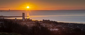 Sunrise on Swansea city south Wales