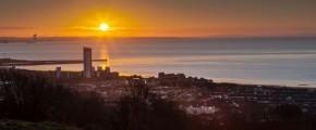 Sunrise on Swansea city south Wales